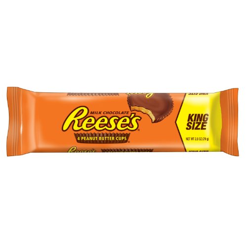 REESE'S Peanut Butter Cups, Chocolate Candy, King Size (Pack of 24)