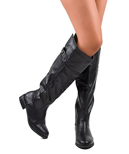 Review RF ROOM OF FASHION Rocker-12 Riding Boots (Black PU Size 8)