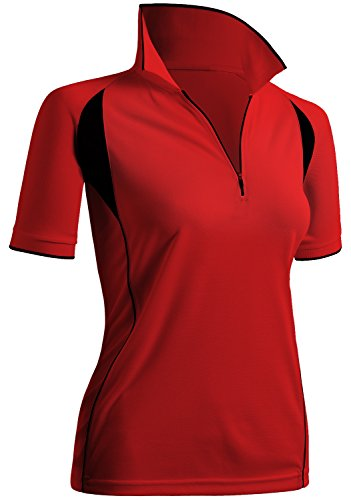 (CLOVERY Highly Breathable Quick Drying Short Sleeve Zipup Polo Shirt Red US XL/Tag XL)