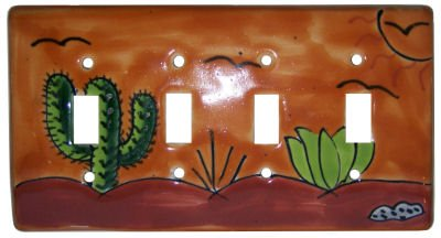 Desert Talavera Quadruple Toggle Switch Plate by Fine Crafts & Imports