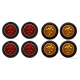 "2"" ""PEAKTOW Round LED Submersible Marker Lights Front Side Rear Marker Indicators. Light Car, Truck, Van, Trailer, RV, Boat, Taillight Brake Stop Lamp 12V Grommets Plugs (4pcs Red + 4pcs Amber)"