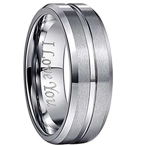 NUNCAD Men's 8mm Tungsten Ring One Tone Matte Finish Grooved Center Wedding Band Beveled Edge Size 13.5
