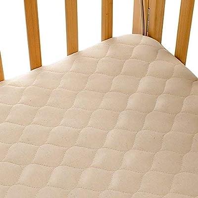 Organic Cotton Porta-Crib Mattress Pad Cover with Waterproof Back Layer