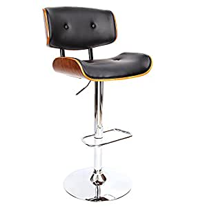 Bar Stools, Artiss Wooden Leather Kitchen Stools, Swivel Gas Lift Bar Chairs Black