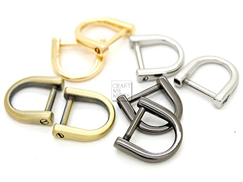 CRAFTMEmore Tiny D-Rings with SCREW Shackle Horseshoe U Shape Zip Puller Connector Purse Replacement for 3/8 Inch Strap 5 pcs (Gold) (Puller Hand Boat)