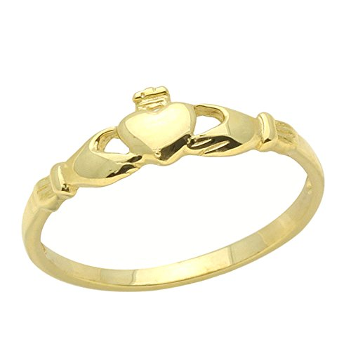 (Double Accent 14K Gold Ring Claddagh Yellow Gold Ring Size 2 To 5)