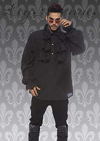Camisa con Volantes Negra del Vampiro gótico de Halloween para Hombre Large (41-43