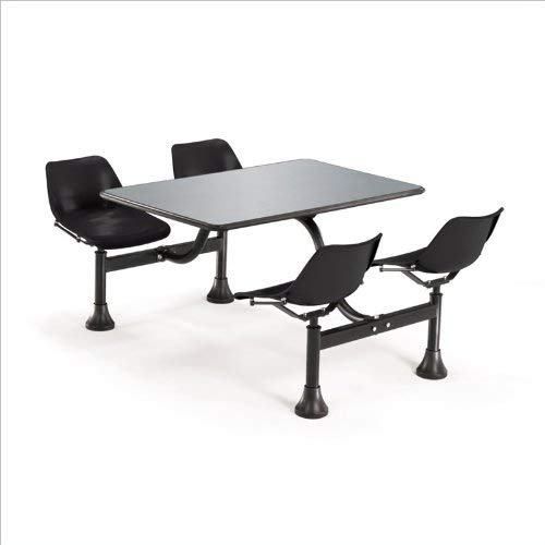 OFM Cluster Table with 4 Attached Swivel Chairs and Stainless Steel Top, Black
