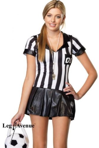 Leg Avenue Junior's 3 Piece Junior Referee Costume, Black/White, (Leg Avenue Womens Referee Costume)