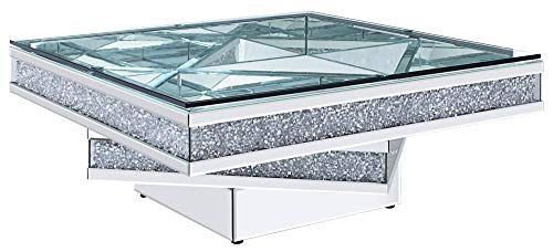 ACME Furniture 81465 Coffee Table, Mirrored and Faux Diamonds (Cocktail Tables Mirrored)