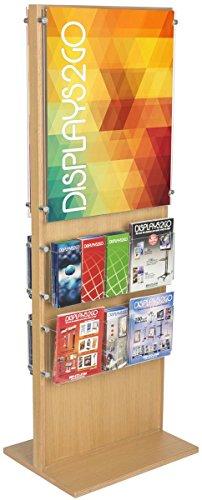 Displays2go DSAP20PKLO Floor Standing Literature Kiosk, Dual Sided, 22x28, 4 Brochure Racks, Oak by Displays2go