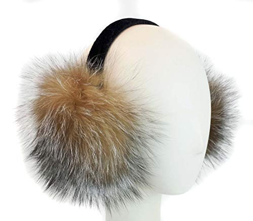 Surell Fox Fur Earmuff with Velvet Band - Winter Ear Muffs - Cold Weather Head Warmer (Crystal)