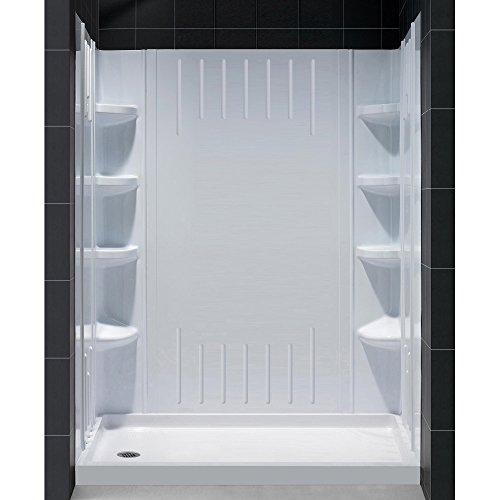 30 Left Drain (DreamLine DL-6145L-01 SlimLine 30-Inch by 60-Inch Single Threshold Shower Base Left Hand Drain and QWALL-3 Shower Back Walls Kit)