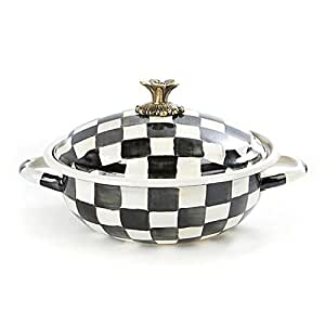 "MACKENZIE CHILDS BRAND NEW Courtly Check Enamel Casserbole Medium10.25"" dia., 12.5"" wide, 6.5"" tall, 10 cups capacity"
