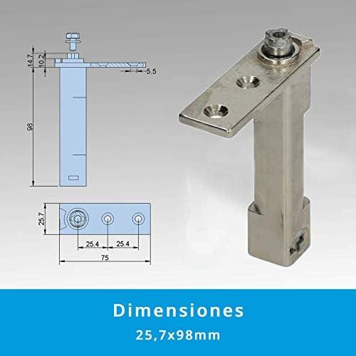 Pack 2 x Bisagras de Torsión con Muelle de Retorno Automático (2,8mm de Diámetro) | Soporte de Pivot en Zamak Niquelado Fijación Cuadrada (7,6 x 7,6mm) |: Amazon.es: Bricolaje y herramientas