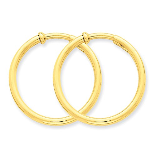 ICE CARATS 14k Yellow Gold Non Pierced Clip On Hoops Hoop Earrings Ear Set Fine Jewelry Ideal Mothers Day Gifts For Mom Women Gift Set From Heart by ICE CARATS