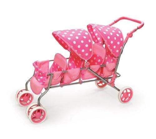 Badger Basket Inline Quad Doll Stroller - Pink Polka Dots (fits American Girl dolls)