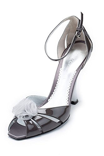 GIORGIO ARMANI Women Gray Patent Leather Slim Wedge Heel Peep Toe Pumps Shoes US 8.5 EU -