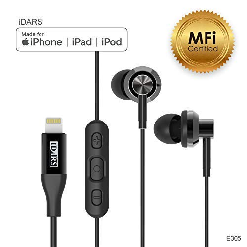 iDARS Lightning Headphone Earbud Earphone Apple MFi Certified in-Ear Wired Headsets with Mic and Remote for iPhone X/XS/XS Max/XR/ 8/ 8Plus/ 7/ 7Plus, iPad Pro/Air/Mini, iPod (Black) ()