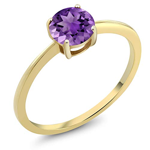 Gem Stone King 10K Yellow Gold 0.70 Ct Round Purple Amethyst Gold Solitaire Engagement Ring (Size 8)
