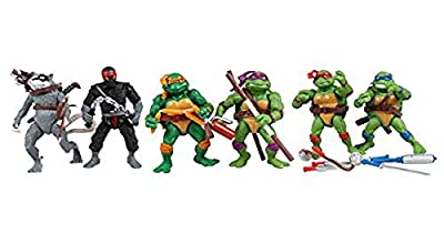 Just Model Pattern Teenage Mutant Ninja Turtles Action Figures Tmnt One Set of 6 PVC Dolls Leo Mikey Don Raph for Collector 12cm