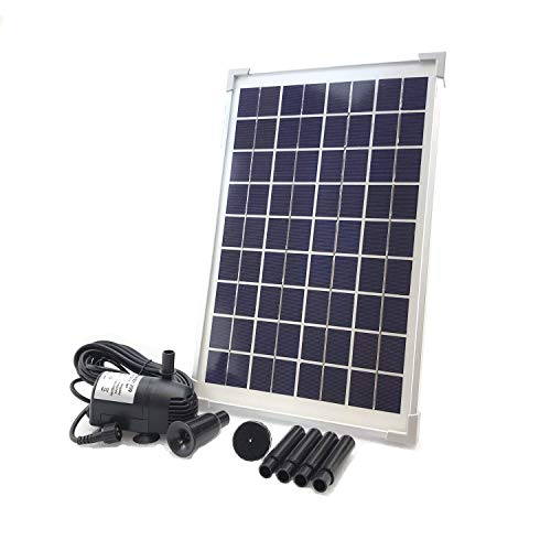 AEO Solar Water Pump KIT: 12V-24V DC Brushless Submersible 196GpH Water Pump with 10W Solar Panel for Solar Fountain, Fish Pond, and Aquarium (No Backup Battery)