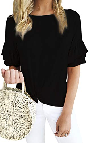ECOWISH Women's Casual Ruffles Short Sleeve Solid Tie Knot Front Loose Fit T Shirt Blouses Tops Black Small (Cotton Short Sleeve Ruffle Front Blouse)