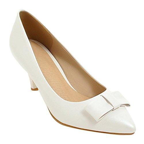 Slip Chaussures Blanc Haut Court Upper Pointu Talon Femmes Mee Bow Chaussures Toe Charme Sur EwxdqO1g