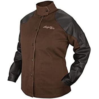 Black Stallion BSX BW9C/PS AngelFire Chocolate 9oz. Brushed Fire Resistant Cotton with Pigskin Grain Sleeves Welding Coat- Small