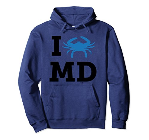 Blue Adult Md Apparel (Unisex I Love Blue Crab MD Maryland State Flag Pullover Hoodie Medium Navy)