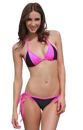 Slip À Doublure Schwarz Bikini Fashion Neonpink Triangle Anns Sexy Bicolore Nouer Top 5xqFWBH6