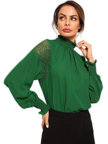 ce9d0af7ec2ddb Floerns Women's Long Sleeve Stand Collar Lace Chiffon Blouse Top ...