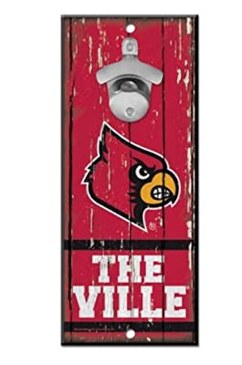 "WinCraft NCAA University Louisville Cardinals Wood Bottle Opener Sign, 5"" x 11"", Multicolor …"