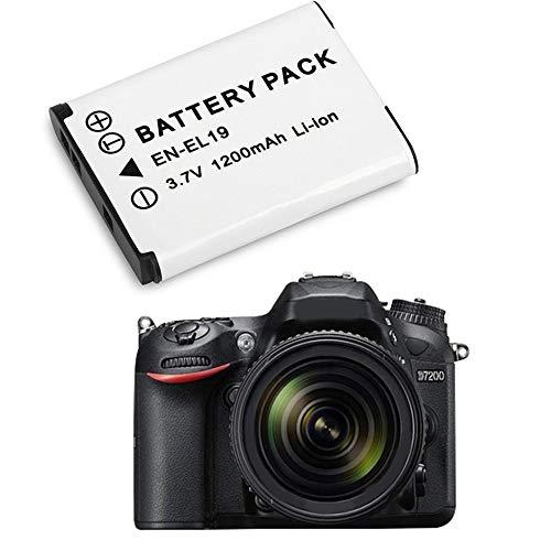 Batterie de Remplacement pour Appareil Photo Nikon EN-EL19 3.7V 1200MAH Batterie Li-ION Rechargeable pour Appareil Photo num/érique Blanc