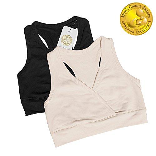 Kindred Bravely French Terry Racerback Nursing Sleep Bra for Maternity / Breastfeeding (Medium, 2 Pack, Black/Beige)