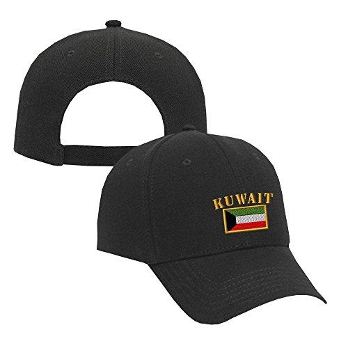 Kuwait Flag Embroidery Adjustable Structured Baseball Hat Black