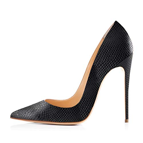 Onlymaker Women's Pointy Toe Slip On Stiletto High Heels Large Plus Big Size Shoes Office Party Wedding Classic Pumps Solid Black Snake Print US 5 (Black Print Pumps Snake)