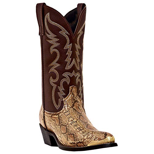 Laredo by Dan Post Snake Print Western Boots Gold Brown