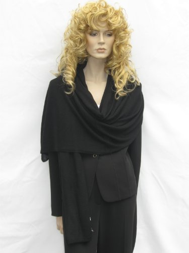 Cashmere Pashmina Group: Cashmere Scarf Shawl Stole Wrap (Sweater Knit Cashmere Shawl) Black by Cashmere Pashmina Group (Image #6)