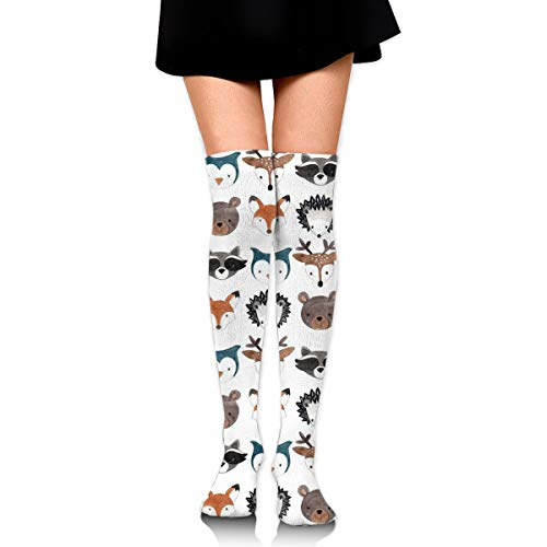(GERSWEET Ideal Gifts - Fashion Thigh High Long Tube Stockings for Women Over The Knee Socks with Woodland Creatures Warm Comfortable Compression Socks )