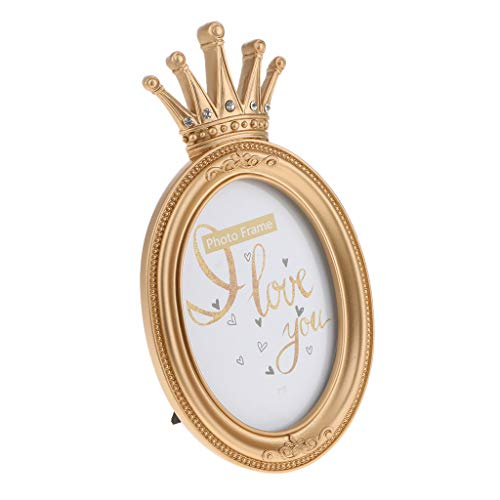 Flameer Vintage Gold Resin Crown Style Picture/Photo Frame Desk Bedroom Home Décor - Oval 7 Inch ()