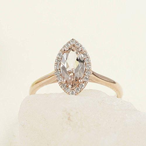 Simple Marquise Morganite Engagement Ring - Diamond Engagement Ring - 14K Solid Gold Ring - Natural Morganite Wedding Band