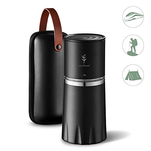 Portable Coffee Grinder Set,Soulhand Manual Coffee Grinder with Adjustable Ceramic Burr and Foldable Hand Crank, All –in-One Coffee Maker for Travel Camping Working Office (with Storage bag -Black)
