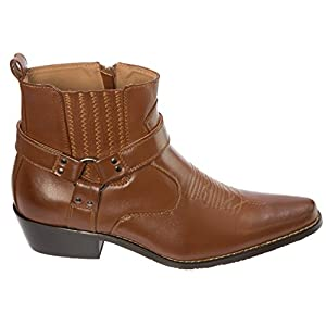 Alberto Fellini Western Style Boots New Upgrade PU-Leather Cowboy Brown Size 11