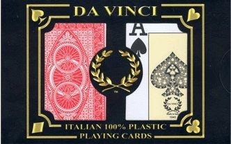 Da Vinci Ruote, Italian 100% Plastic Playing Cards, 2-Deck Poker Size Set, Jumbo Index with Hard Shell Case & 2 Cut Cards by Da Vinci