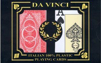 Bicycle Vinci Da - DA VINCI Ruote, Italian 100% Plastic Playing Cards, 2-Deck Poker Size Set, Jumbo Index with Hard Shell Case & 2 Cut Cards