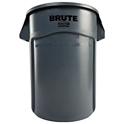 Rubbermaid Commercial Brute Vented Trash Receptacle, Round, 44 Gallons, Gray (264360gy)