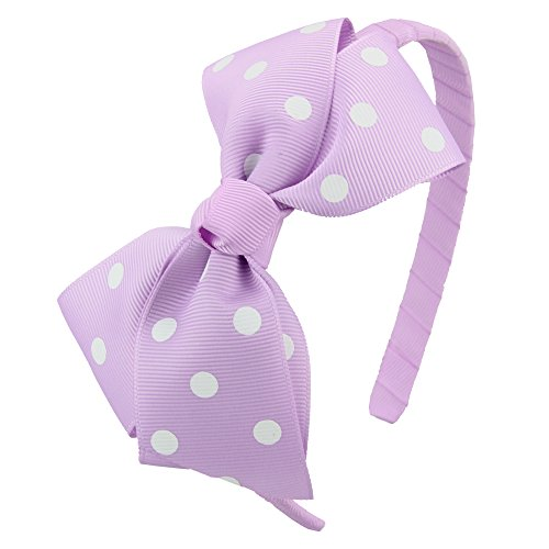 7Rainbows Fashion Polka Dot Light Orchid Bows Headbands For Toddlers Girls (Orchid Band)