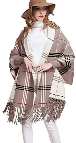 Bellady Wool Cardigan Coat Tassel Plaid Batwing Ponchos Cape Shawl Wrap, Khaki