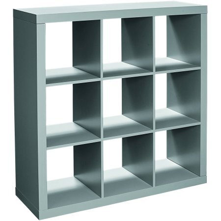 Better Homes and Gardens 9-cube Organizer Storage Bookcase Bookshelf Gray